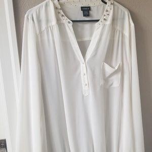 White Torrid Plus Size Embellished Collar Blouse